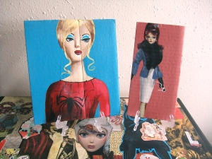 Retro Barbies, acrylic on cardboard