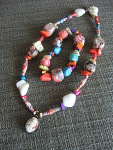 Necklace and bracelet made with decoupaged origami paper beads - These would look amazing in a monochromatic color scheme, too, but I made this set specifically for myself and I love colors so...