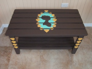 2014 outdoor coffee table accented in graphic diamonds and cameo decoration
