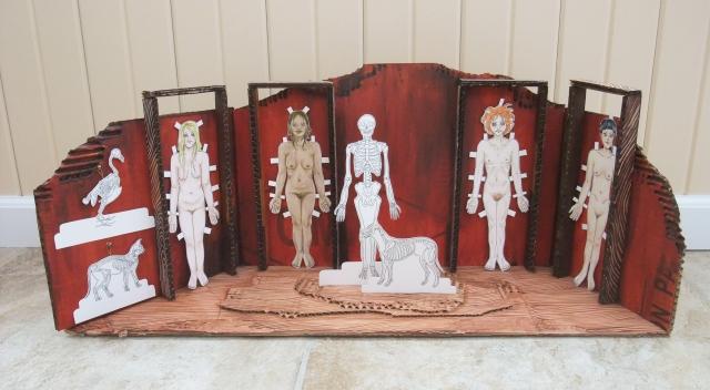 """""""God As The Artist""""; bristol board, ink, acrylic, corrugated cardboard"""