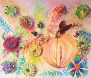 And again, I have the best students ever. Unique floral mixed media for autumn.