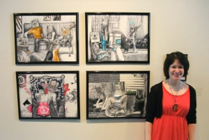 """Me, timehop to 5 years past, showing my completed """"Occupancies"""" series and some very black hair."""