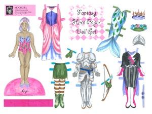 Fantasy Hero Layla Paper Doll Set