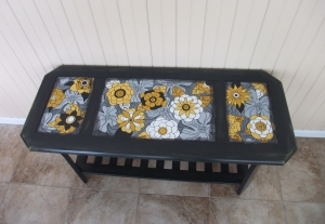 Upcycled sofa table for this year in golds and greys and retro-fantastic flowers!