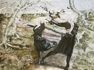 The Dance, Awarded Best 2D; prismacolor pencil, ink, watercolor, fabric, book pages, embroidery thread