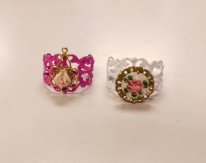 Awesome rings upcycled from vintage earrings - I loved how these turned out so much I'm making one at home just like the ring on the right for myself!