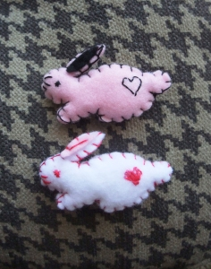 Plush hair clips perfect for Easter - bunnies, strawberries, little birds, and more on etsy!