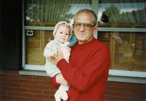 Old family photo with Grandpa (I can't believe I'm posting this, but for the sake of art ... I will publicly expose baby photos - at least the non-embarassing ones).
