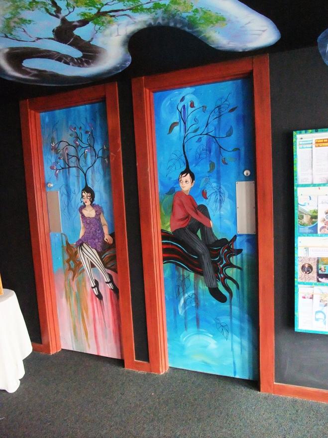 Men's and Women's Restroom Doors