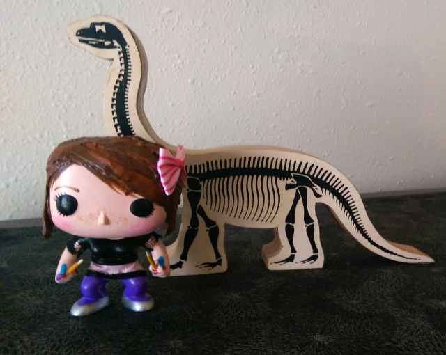 Artist Leesy and her trusty resurrected brontosaurus companion, all in a day's work.