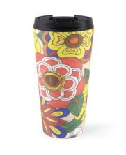 Retro Flowers Travel Mug