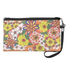 Retro Flowers Wristlets and Cosmetic Bags