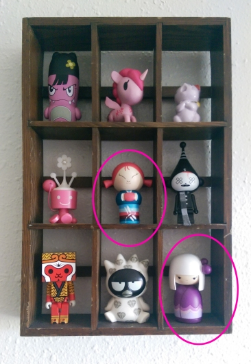 Two of my non-handmade modern kokeshi dolls