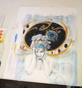 Darkened some of the shading on the figure to balance the dark areas of deep space and the moon phases pattern, and added layers of metallic watercolor to the background. Also detailed some constellations over the watercolor.