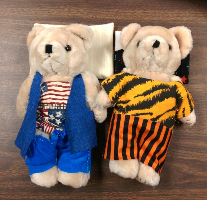 Naked no more! These bears have a snazzy new wardrobe thanks to the sewing class.