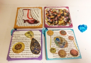 Coasters by Lori : Wood Samples (It pays to have a boyfriend who works at a furniture store ;)) covered in book pages and magazine cutouts accented in metallic acrylic. Felt is applied to the bottom to prevent scratching. Sealed with mod podge aka my lifeblood.