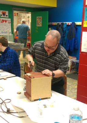 This is Brian N.'s first time in Woodshop, and he took to the techniques right away.