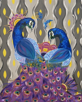 "Peacock Friends, 16x20"" Acrylic"