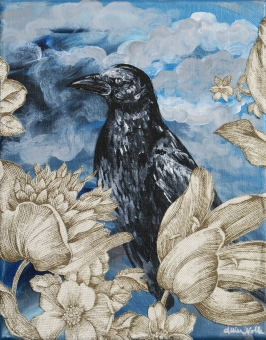 "Raven, 8x10"" Acrylic and Mixed Media"