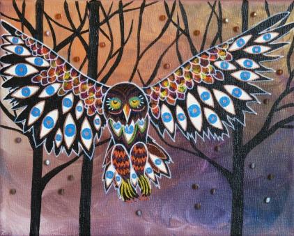 8x10 painting owl eyes